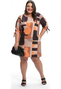 Vestido Plus Size Geométrico Laranja Clássico