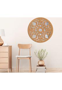 Escultura De Parede Wevans Mandala Modern, Madeira + Espelho Decorativo