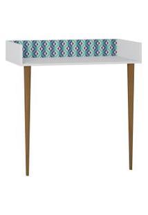 Aparador/Escrivaninha Branco/Estampa Azul Be Mobiliário