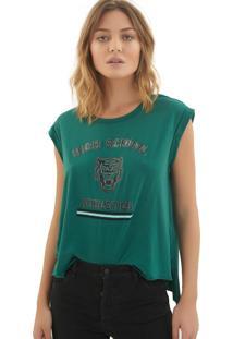 Camiseta Rosa Chá Mel Malha Verde Feminina (Storm, G)