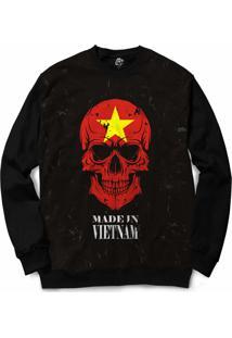 Camiseta Longline Bsc Caveira País Vietnam Sublimada Preto