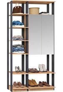 Closet Modulado 1 Armário C/ Espelho Clothes 9007 – Be Mobliário - Carvalho Mel / Espresso