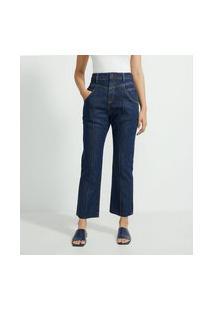Calça Mom Jeans Com Pala Enviesada E Friso Frontal | Marfinno | Azul | 44