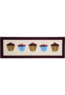 Passadeira Retangular Para Cozinha Vizapi Un Cupcake Em Poliéster 40 X 120 Cm - Multicolorida