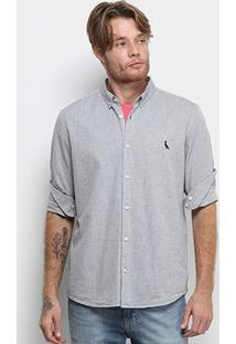 Camisa Manga Longa Reserva Regular Oxford Masculina - Masculino-Cinza