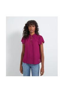 Blusa Bata Em Viscose Texturizada Com Detalhe De Lastex No Ombro | Marfinno | Rosa | P