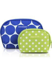 Kit De Necessaire De 2 Peças Redonda Jacki Design Dots Azul