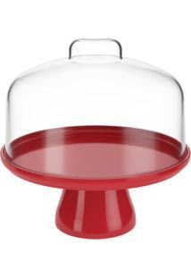 Boleira Cake Com Cúpula 19,5 Cm Vermelho Bold Coza
