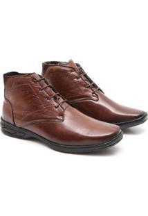 Bota Social Prime Shoes Cano Alto Masculino - Masculino-Cafe