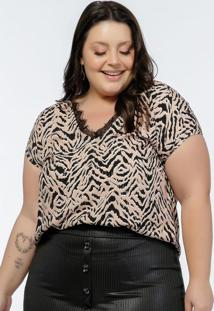 Blusa Plus Size Estampa Zebr Com Renda No Decote