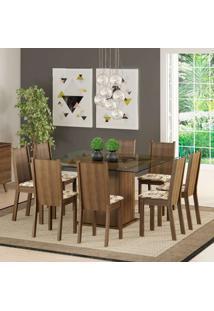 Conjunto De Mesa Com 8 Cadeiras Camila Rustic E Lírio Bege