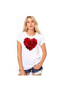 Camiseta Coolest Coraçao De Rosas Branco