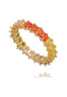 Anel Aparador Baguetes Rainbow Folheado A Ouro 18K Multicolorido