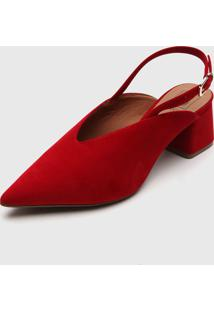 Scarpin Bebec㪠Slingback Vermelho - Vermelho - Feminino - Dafiti
