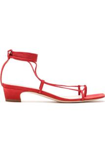 Schutz Sandália Lace Up Micro Heel - Vermelho