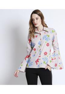 Camisa Floral - Bege & Vermelha - Linho Finolinho Fino