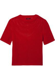 Blusa Rosa Chá Sila 2 Tricot Vermelho Feminina (Babados Chery / Red, Pp)