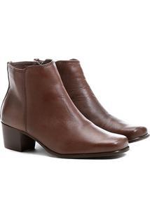 Bota Couro Shoestock Curta Quadradinha Feminina - Feminino-Café