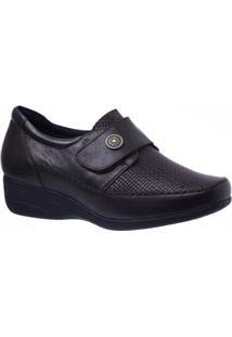 Sapato Conforto Couro Doctor Shoes Anabela 3145 Soft Feminino - Feminino-Café