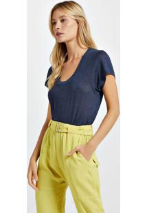 Blusa De Malha Com Decote New Colors Azul Lennon - M