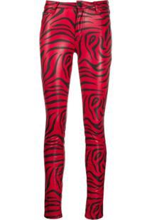 Philipp Plein Calça Skinny Com Estampa De Zebra - Vermelho