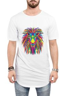 Camiseta Criativa Urbana Long Line Oversized Leão Psicodélico Branca