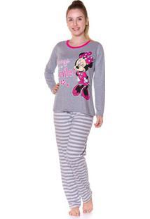 Pijama Minnie Com Listras Feminino Adulto