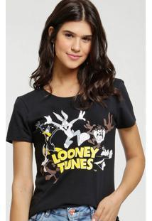 Blusa Feminina Estampada Manga Curta Looney Tunes