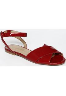 Sandália Rasteira Com Tiras - Vermelhaluiza Barcelos