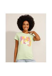 "Camiseta De Algodão Sunkissed"" Manga Curta Decote Redondo Verde Claro"""