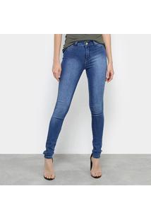 Calça Jeans Skinny Coffee Estonada Cintura Média Feminina - Feminino-Jeans