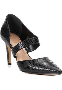 Scarpin Couro Shoestock Salto Alto Cobra Lopsided - Feminino-Preto