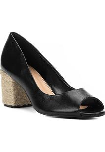 Peep Toe Couro Shoestock Salto Bloco Corda - Feminino