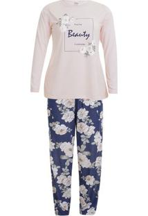 Pijama Longo Inverno Floral Plus Size Feminino Adulto Luna Cuore