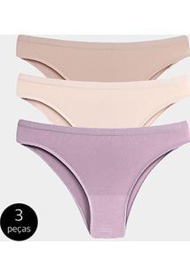 d827f6e7f ... Kit Calcinha Tanga Trifil Básica 3 Peças - Feminino-Cinza+Pink