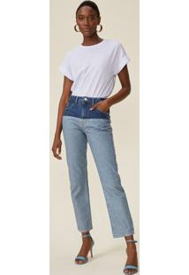 Calça Jeans Reta Bicolor