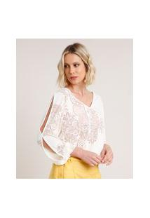 Blusa Feminina Open Shoulder Devorê Com Arabescos Manga Longa Decote V Off White