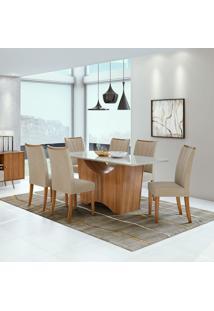 Conjunto De Mesa De Jantar Rock Com 6 Cadeiras Apogeu Ll Veludo Off White E Creme