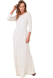 Vestido Fiveblu Longo Poás Off-White/Preto