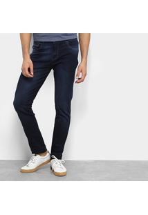 Calça Jeans Aleatory Slim Elastano Masculina - Masculino-Azul Escuro