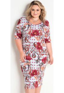 Vestido Midi Malha Texturizada Étnico Plus Size