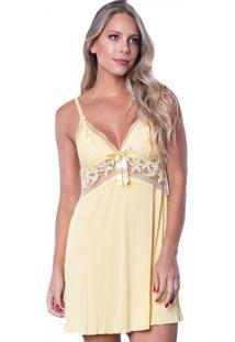 Camisola Click Chique Alça Luxo Detalhe Rendado Amarelo
