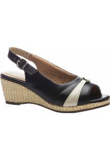 Sandália Feminina Anabela 612 Em Couro Doctor Shoes - Feminino-Preto
