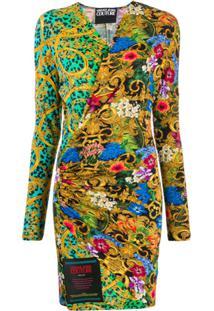 Versace Jeans Couture Vestido Envelope Estampado - Preto