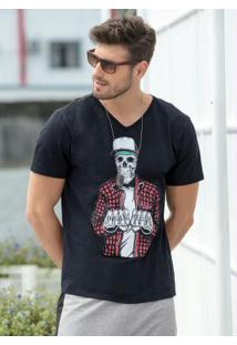 Camiseta Preta Com Decote V E Estampa Caveira