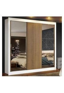 Guarda Roupa Casal Madesa Mônaco 3 Portas De Correr Com Espelhos Branco