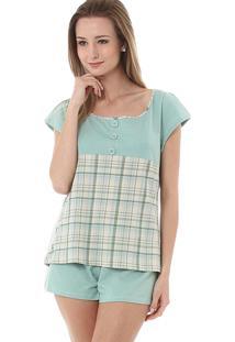 Short Doll Rmb Lingerie Confort Xadrez Verde