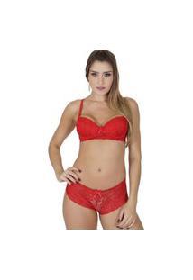 Conjunto Click Chique Sexy Rendado Caleçon Vermelho