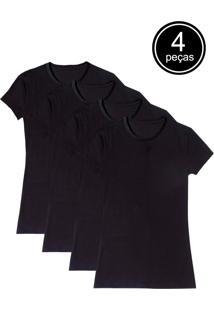 Camiseta Básica Baby Look Gola Redonda Kit 4 Peças Preta