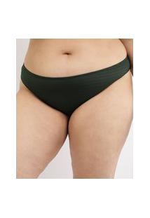 Biquíni Calcinha Plus Size Texturizado Com Proteção Uv50+ Verde Escuro